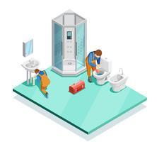 Plombiers en image isométrique de salle de bains moderne