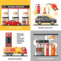 Gas And Petrol Station 2x2 Design Concept vector