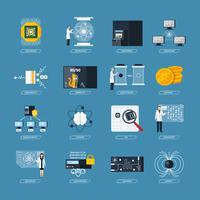 Iconos planos de computación cuántica