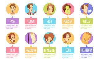 Set di icone di Cartoon Sickness Man