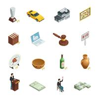 Auction Isometric Icon Set vector