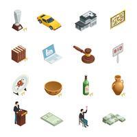 Conjunto de ícones isométricos de leilão