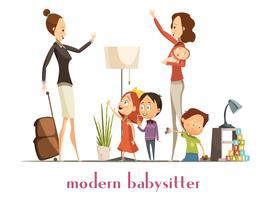 Modern Babysitter Nanny Service Cartoon Illustration