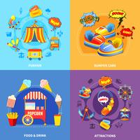 Quadrato piano delle icone del parco dei divertimenti 4