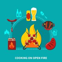 Cooking On Open Fire vector