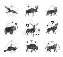 Emblemas monocromáticos de animais poligonais