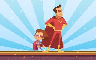 Pareja de adultos y niños superhéroes de dibujos animados