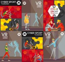 Cybersport VR Colorful Flat Composition Poster