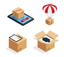 Parcel Delivery Stages Set