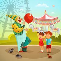 Nöjespark Circus Clown Flat Illustration