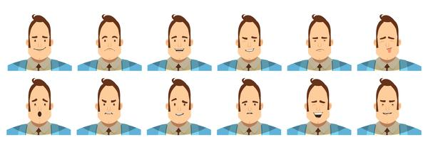Male Emotions Avatars Set Cartoon Style