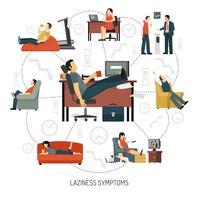 Infografia de sintomas de preguiça