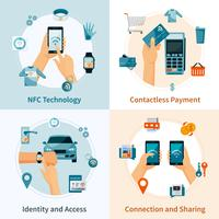 NFC Technology Flat Style Compositions vector