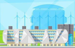 Affiche plate des installations de l'usine de déchets écologiques