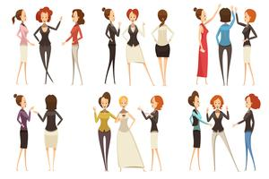 Groups Of Businesswomen Cartoon Style Set
