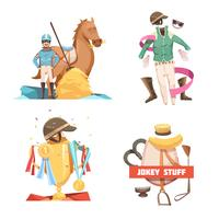 Horse Riding Retro Cartoon Compositions