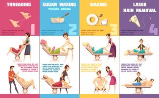 Depilation Methods 4 Infographic Banners Set  vector