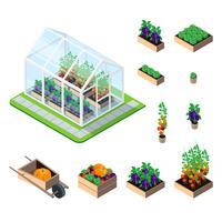 Växthus isometrisk uppsättning