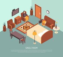 Cartel isométrico del ejemplo de la habitación individual del hotel