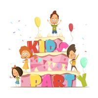 Kids Party Retro Composición vector