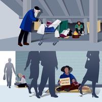 hemlösa människor platta kompositioner