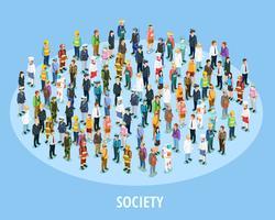 Professionele samenleving isometrische achtergrond