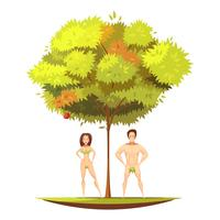 Adán Eva bajo la ilustración de dibujos animados de manzano