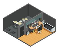 Drums Recording Studio Interior vector