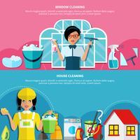 Ensemble de bannières de nettoyage de maison