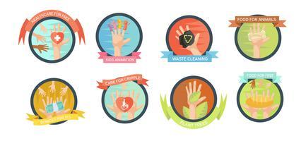 Conjunto de iconos de iniciativas de voluntariado