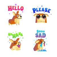 Set di emoticon adesivi Corgi