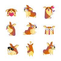 Colección de iconos de personaje de dibujos animados de perro Corgi