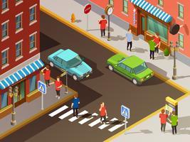 Stad Navigatie Isometrische Set
