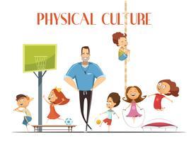 Ilustración de dibujos animados retro de cultura física lección