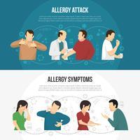 Conjunto de banners de alergia vector