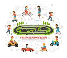 Children Racing Stadium Composition