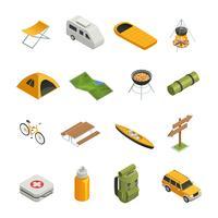 Campeggio escursionismo set di icone isometriche