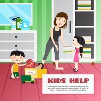 Ilustración de limpieza de niños
