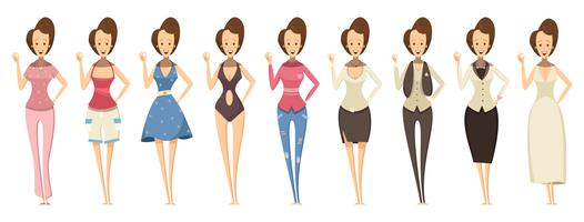 Woman In Various Outfits Set  vector