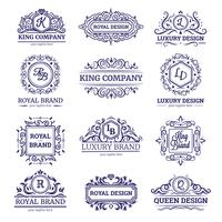 Set monocromatico etichette di lusso