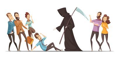 Miedo a la muerte fobia ansiedad composición de dibujos animados