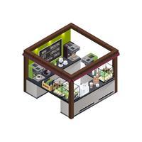 Composición isométrica del kiosco de café