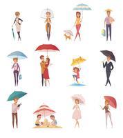 Pessoas, ficar, sob, guarda-chuva