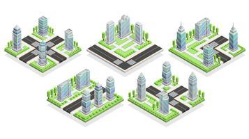 Composição isométrica de casas de cidade