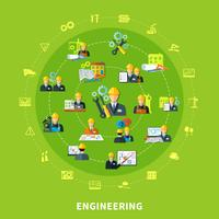 Iconos de ingeniería de composición redonda