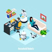 Household Robots Isometric Composition vector