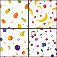 Polygonal Fruits 4 Seamless Patterns Icons