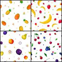 Polygonal Fruits 4 Seamless Patterns Icons