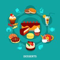 Composição redonda de sobremesas de restaurante