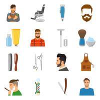 Conjunto de ícones plana de barbeiro